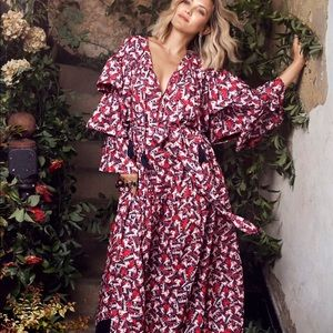 Happy x nature windsong ruffle maxi dress